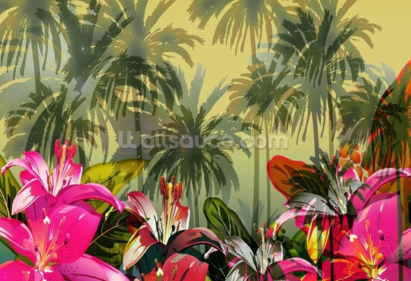 Tropical Lilly Scene mural wallpaper