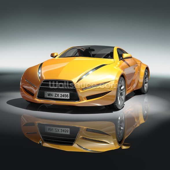 Yellow sports car mural wallpaper