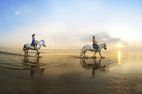 Beach Horse Riding mural wallpaper