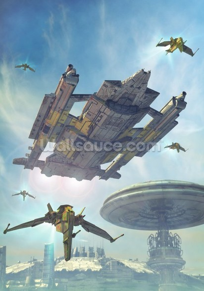 Spaceship and futuristic city wall mural