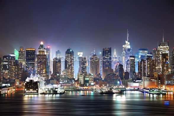 New York - Manhattan Skyline at Night wallpaper mural
