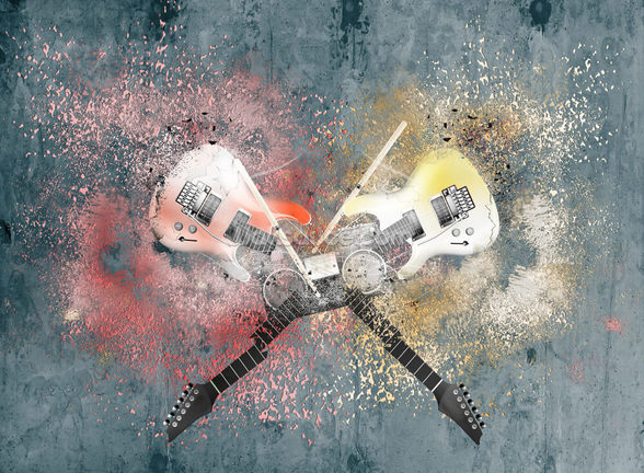 Graffiti Smashed Guitars wall mural