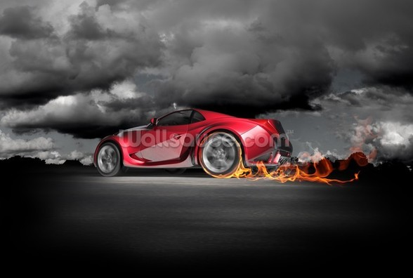 Sports Car Burnout wallpaper mural