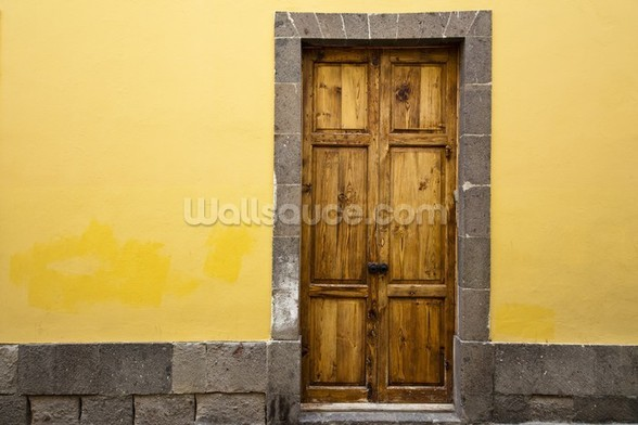 Wood and Yellow wallpaper mural