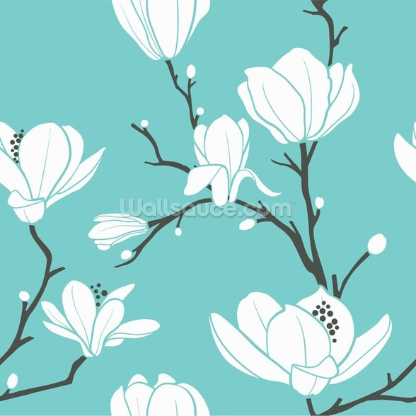 Magnolias on Blue mural wallpaper