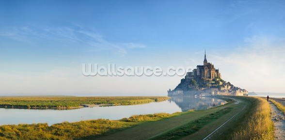 Mont Saint Michel Sunrise mural wallpaper