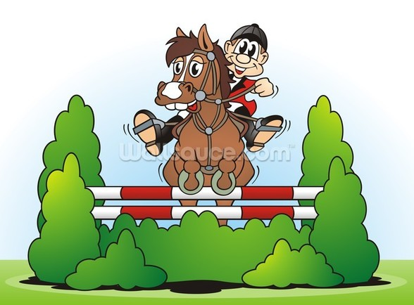 Show Jumping Cartoon wall mural