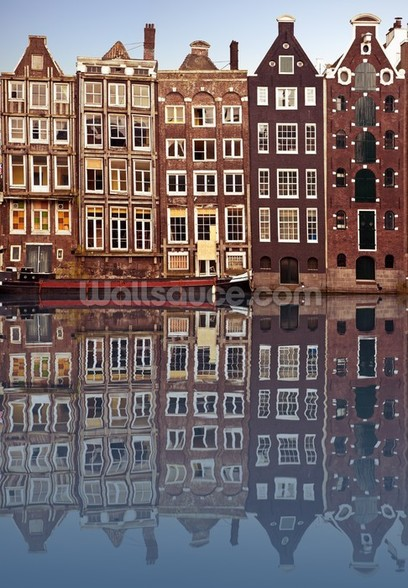 Amsterdam Houses Reflection mural wallpaper