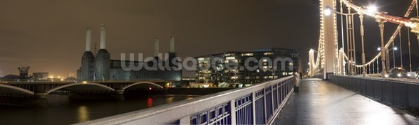Battersea Power Station at Night mural wallpaper