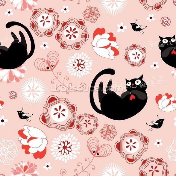 Floral - Cats and Flowers wall mural