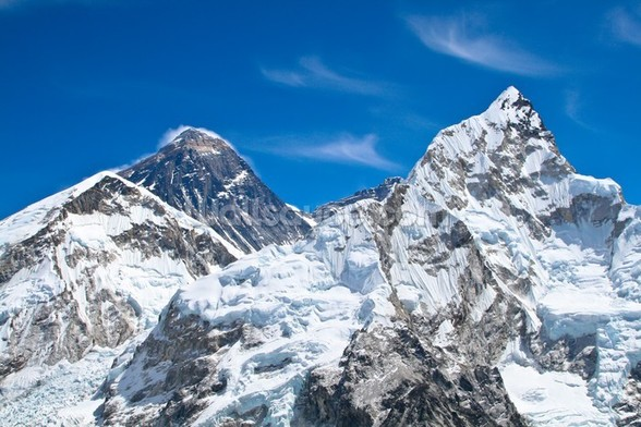 Everest and Lhotse mountain peaks view from Kala Pattar, Nepal mural wallpaper