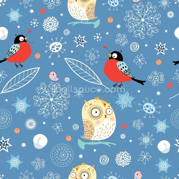 Owls and Finch wallpaper mural