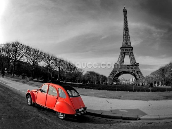 Eiffel Tower and Old Red Citroen wallpaper mural