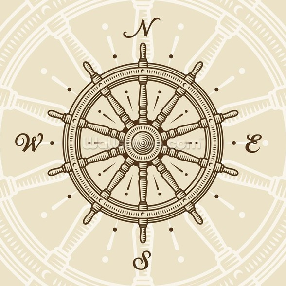 Vintage Ship Wheel wall mural