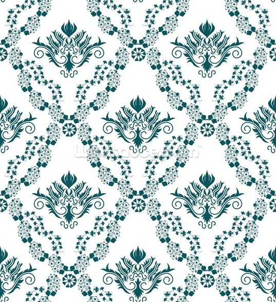 Damask - Green mural wallpaper