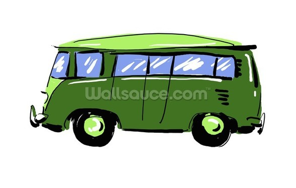 Green VW Camper Illustration wall mural
