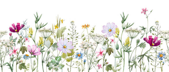 Delicate Floral Meadow mural wallpaper