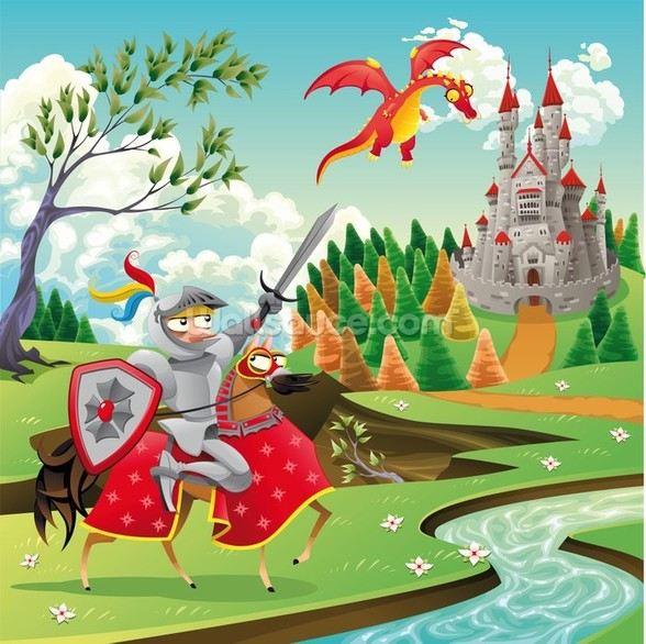 Brave Knight, Castle and Dragon wall mural