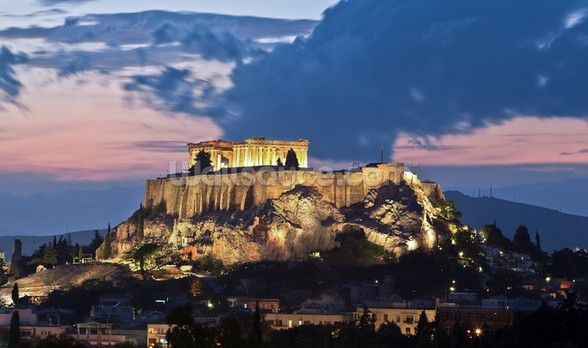 The Acropolis at Night, Athens wall mural