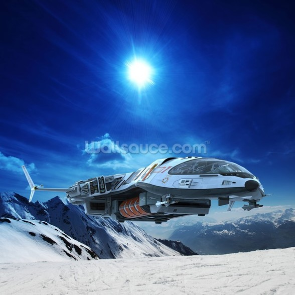 Spaceship in Snow Planet wallpaper mural