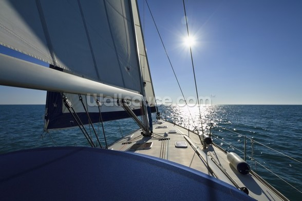 Italy, Sicily, Mediterranean sea, cruising on a sailing boat wall mural