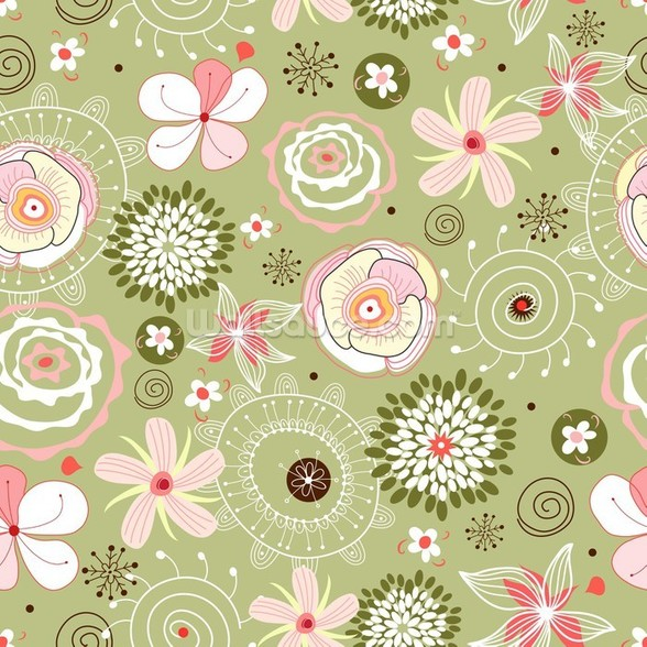 Flower Seamless Pattern wall mural