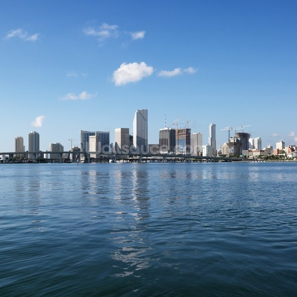 Waterfront Skyline, Miami mural wallpaper
