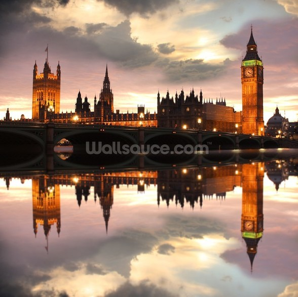 Houses of Parliament Reflection wall mural