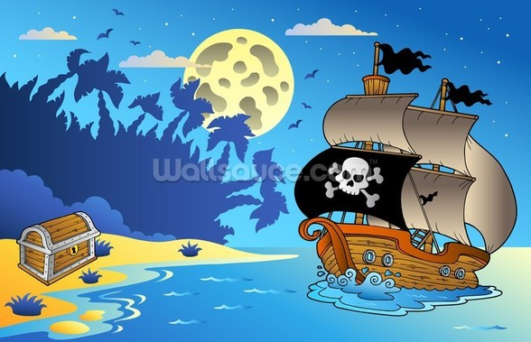 Pirates and Moon wallpaper mural