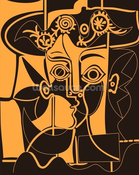 Picasso - Orange wall mural