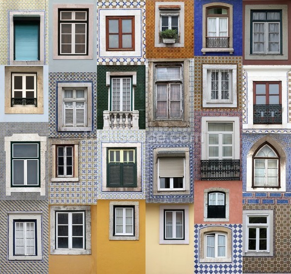Lisbon Windows wallpaper mural