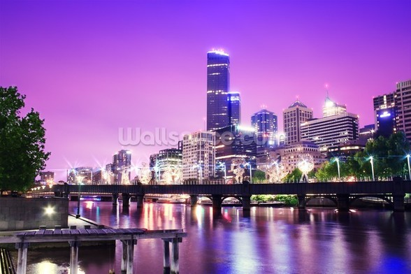 Melbourne at Night mural wallpaper