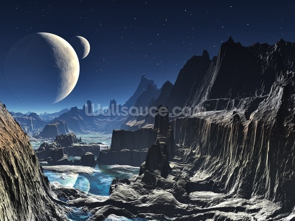 Moonlit Alien Valley Canyon wall mural