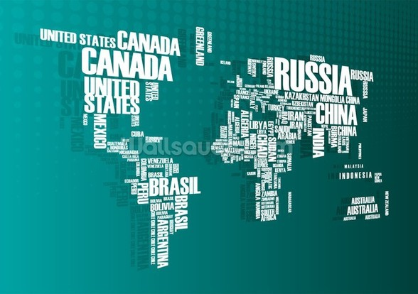 Turquoise Word Cloud Map mural wallpaper