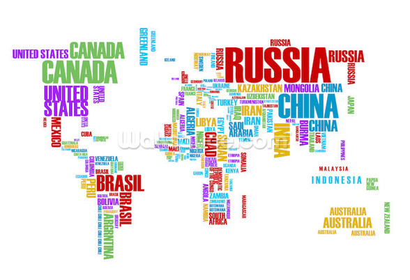 Colourful Word Cloud Map Wallpaper Wall Mural Wallsauce USA - World map russia us