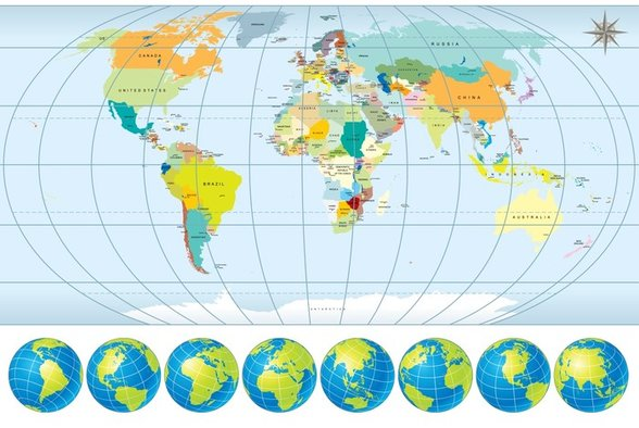 Country Capital World Map wall mural