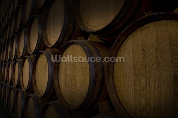 Wine Barrels mural wallpaper