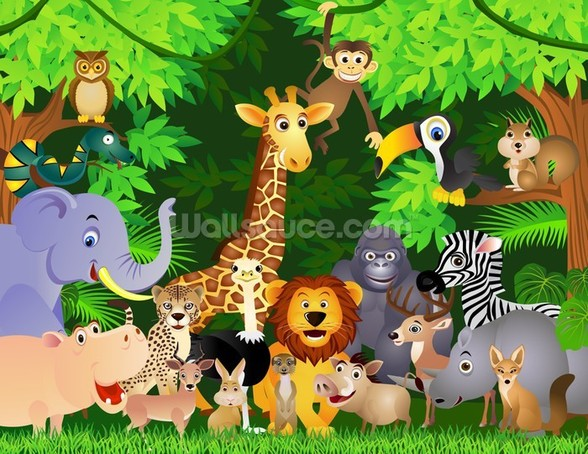 Animals In the Jungle wallpaper mural