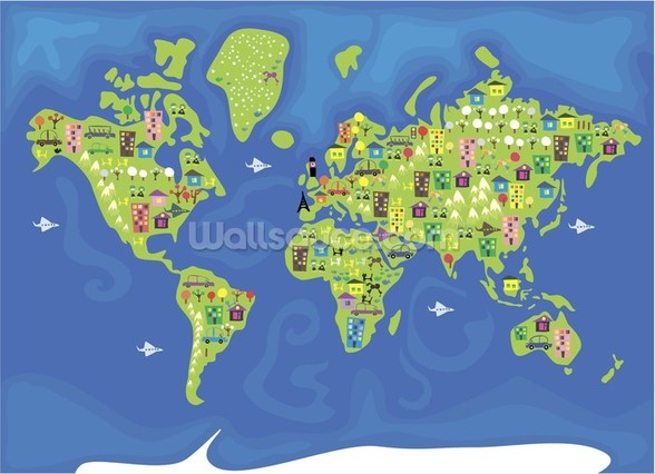 Cartoon World Map mural wallpaper