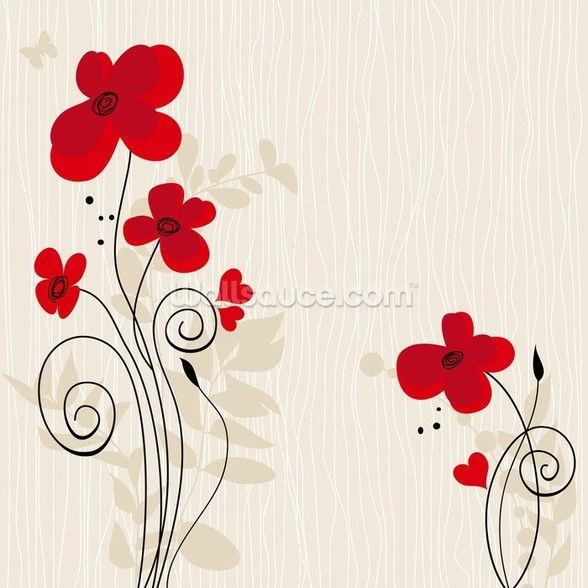Romantic Floral Illustration wall mural