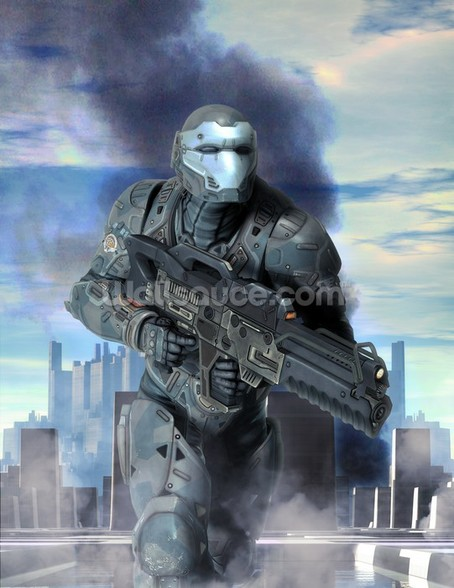 Futuristic soldier armor at war wall mural