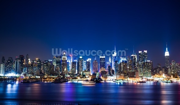 Manhattan Night Skyline mural wallpaper