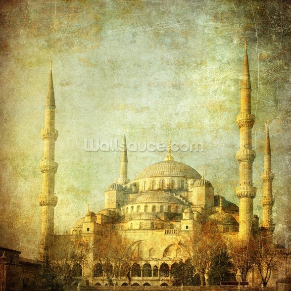 Vintage Blue Mosque, Istanbul wall mural