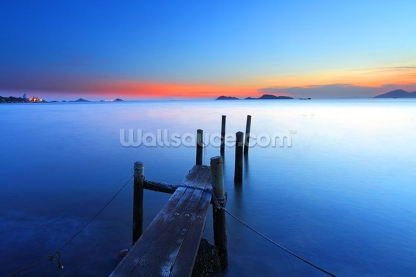 Wooden Jetty Sunset mural wallpaper