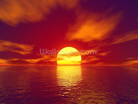 Red Sunset mural wallpaper