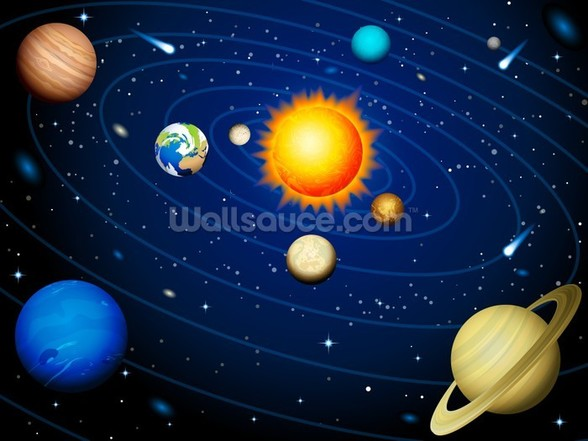 Colourful Solar System wall mural