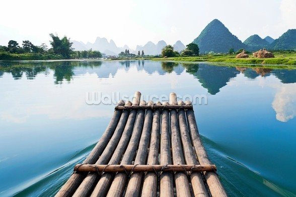 Bamboo Rafting on Li River wall mural