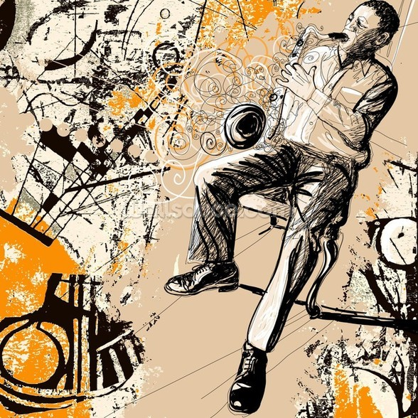 Jazz Saxophonist wallpaper mural