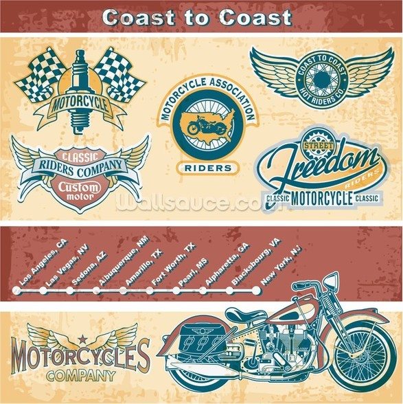 Vintage Motocycle Illustration wall mural