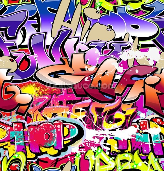 Hip Hop Purple Graffiti wallpaper mural